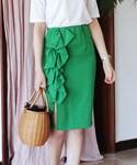 DHOLIC | 2TYPEフリルラインタイトミディスカート(スカート)