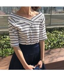 copine(コピン)の「2WAYシンプルボーダーVネックTシャツ(3color)(Tシャツ・カットソー)」