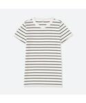 ユニクロ   リブボーダークルーネックT(半袖)(Tシャツ・カットソー)
