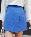 DHOLIC   リネンラップテイストミニスカート(スカート)