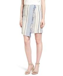 no brand「Women's Halogen Fringe Faux Wrap Pencil Skirt(Skirt)」