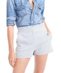 J.CREW「Women's J.crew Ruffled Seersucker Stripe Shorts(Pants)」