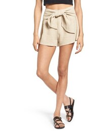 MOONRIVER「Women's Moon River Tie Waist Linen & Cotton Shorts(Pants)」