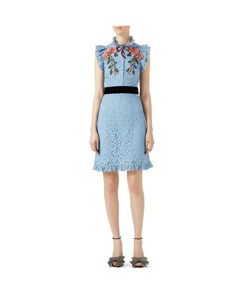 cheap for discount fe1fd a2df2 Gucci(グッチ)の「Gucci Embroidered Cluny Lace Dress, Light ...