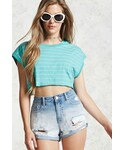 Forever 21「FOREVER 21+ Distressed Cuffed Denim Shorts(Pants)」