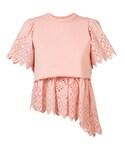 Sea(シー)の「Sea - レース刺繍パネル Tシャツ - women - コットン - XS(Tシャツ・カットソー)」