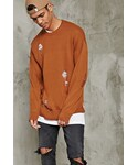 Forever 21「FOREVER 21+ Distressed Crew Neck Sweater(Knitwear)」