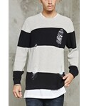 Forever 21「FOREVER 21+ Distressed Stripe Crew Neck Sweater(Knitwear)」