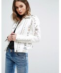 Blank NYC「BLANK NYC Blank NYC Leather Look Biker Jacket with Floral Embroidery and Stud Detail(Riders jacket)」