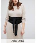 Asos「ASOS Curve ASOS CURVE Black Fabric Obi Belt(Belt)」