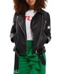 Topshop「Women's Topshop Sisters Faux Leather Biker Jacket(Riders jacket)」
