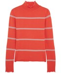 Topshop「Topshop Unique - Margot Striped Stretch-knit Turtleneck Top - Red(Knitwear)」