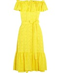 Lisa Marie Fernandez | Lisa Marie Fernandez - Mira Off-the-shoulder Broderie Anglaise Cotton Midi Dress - Yellow(One piece dress)