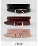 Asos「ASOS 3 Pack Patent Skinny Waist And Hip Belts(Belt)」