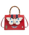 Gucci「Gucci Small Falena Moth Top Handle Leather Satchel - Red(Shoulderbag)」
