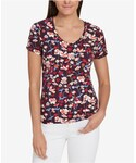 Tommy Hilfiger(トミーヒルフィガー)の「Tommy Hilfiger Cotton Floral-Print T-Shirt, Created for Macy's(Tシャツ・カットソー)」