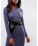 Asos「ASOS Leather Patent Circle Buckle Sash Waist Belt(Belt)」