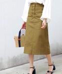 DHOLIC   アウトポケットAラインミモレスカート(スカート)