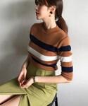 DHOLIC | スリーラインニットTシャツ(ニット・セーター)