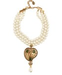 Gucci「GUCCI Faux-pearl logo-heart embellished necklace(Necklace)」
