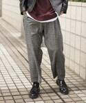 LIDnM | ウールチェックワイドスラックス(西裝休閒褲)