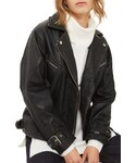 Topshop「Women's Topshop Teddy Oversize Leather Biker Jacket(Riders jacket)」