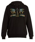 Gucci | GUCCI Dragonfly and logo-print cotton hooded sweatshirt(スウェット)