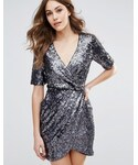French Connection「French Connection Lunar Sparkle Wrap Party Dress(One piece dress)」