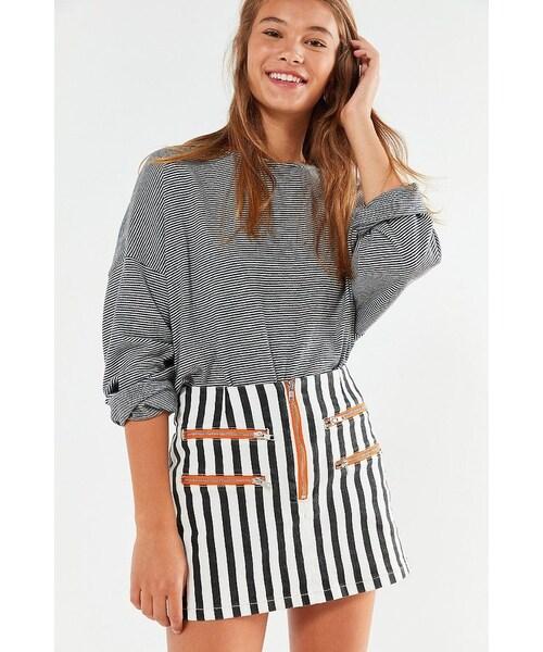 f61b7b34ed BDG,BDG Striped Contrast Zipper Mini Skirt - WEAR
