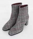 DHOLIC | 2TYPEスリムミドルヒールアンクルブーツ(ブーツ)