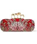 Alexander McQueen「Alexander McQueen - Knuckle Embellished Velvet Clutch - Red(Clutch)」