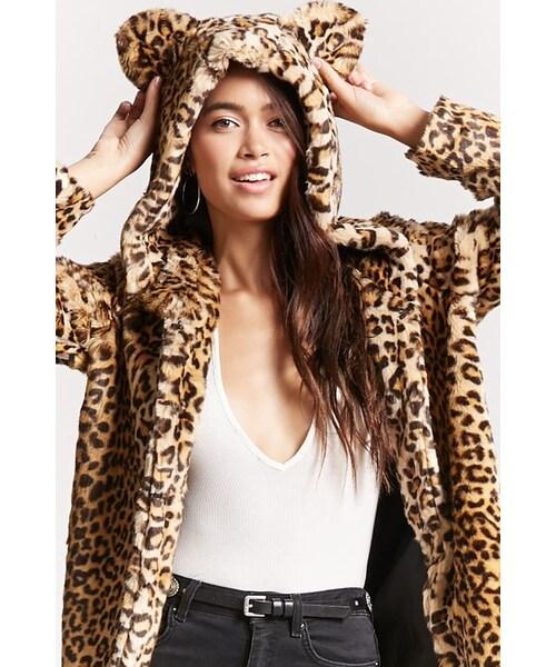 2cf6d33e4675 Forever 21,FOREVER 21 Leopard Faux Fur Hooded Coat - WEAR