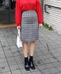 DHOLIC(ディーホリック)の「グレンチェックタイトミディスカート(スカート)」