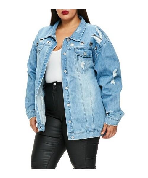 Missguided Plus Size Women S Missguided Ripped Denim Jacket Wear
