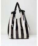 Asos「ASOS Knot Handle Sequin Stripe Shopper Bag(Tote)」