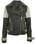 Topshop「Women's Topshop Maddox Painted & Studded Faux Leather Jacket(Riders jacket)」