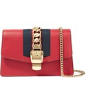Gucci「Gucci - Sylvie Mini Chain-embellished Leather Shoulder Bag - Red(Clutch)」