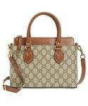 Gucci(グッチ)の「Gucci Gg Mini Linea A Canvas & Leather Crossbody Tote - Beige(ショルダーバッグ)」