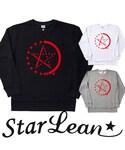 StarLean | スターリアン【公式】スウェット トレーナー 長袖 黒白 グレー シンプル 大人カジュアル モード メンズレディース お揃い 秋 冬 HALF STAR LINEプリントスウェット(RED)(スウェット)