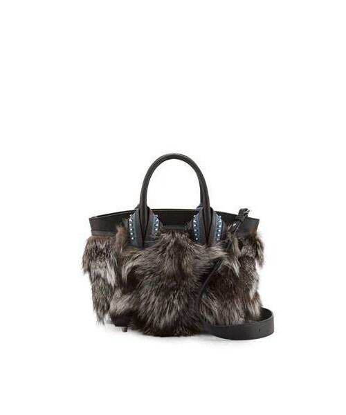 5701cc3e78 「Christian Louboutin Eloise Glitter-Trimmed Fox Fur Tote Bag, Gray Pattern」
