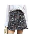 "ZARA Skirt ""パール 付き ツイード スカート チェック コーデ"""
