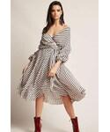FOREVER 21「FOREVER 21 Stripe Surplice Tulip-Hem Wrap Dress(One piece dress)」