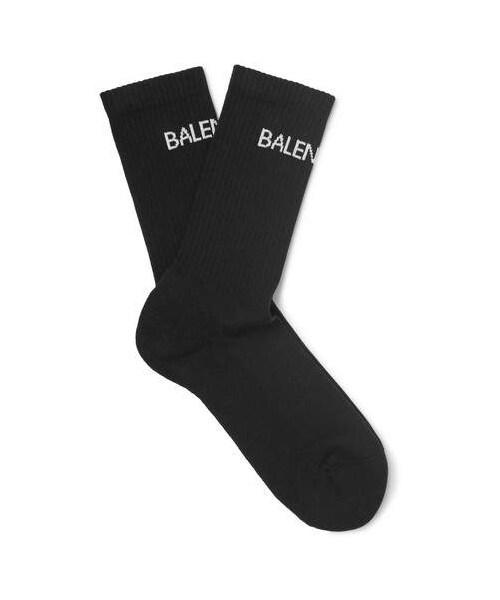 Balenciaga Intarsia Stretch Cotton-blend Socks - Black HapyAmoX79