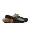 Gucci「Gucci - Horsebit ミュール - men - レザー/Lamb Fur - 8(Other Shoes)」