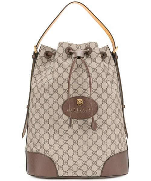 「Gucci - Ggスプリーム 巾着バックパック - men - コットン レザー - ワン 0035b8693072e