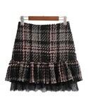 ZARA「ツイードフリルスカート セットアップ コーデ レース(Skirt)」