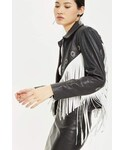 Topshop「Topshop Fringed leather biker jacket(Riders jacket)」
