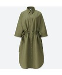 ユニクロ「リネンブレンドシャツワンピース(7分袖・丈標準95~105cm)(One piece dress)」