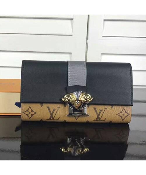 e2fa88b95209 LOUIS VUITTON(ルイヴィトン)の「ルイ・ヴィトン LOUIS VUITTON ポルトフォイユ・サラ(二つ折長財布) モノグラム・リバース  キャンバス×カーフスキン ブラック× ...