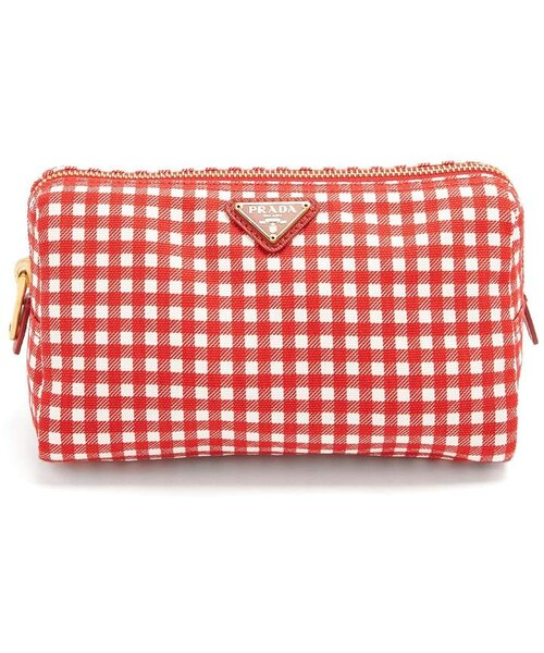 Gingham woven make-up bag Prada QNzwyBr